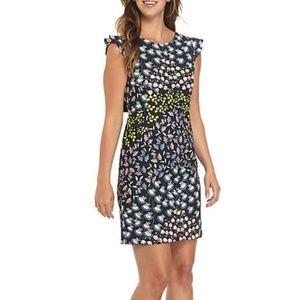 Nanette Lepore Dress Stretch Crepe Floral Bow